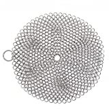 DSSY Cast Iron Cleaner Anti-Rust Stainless Steel Chainmail Scrubber with Corner Ring for Cookware, Round, 8''