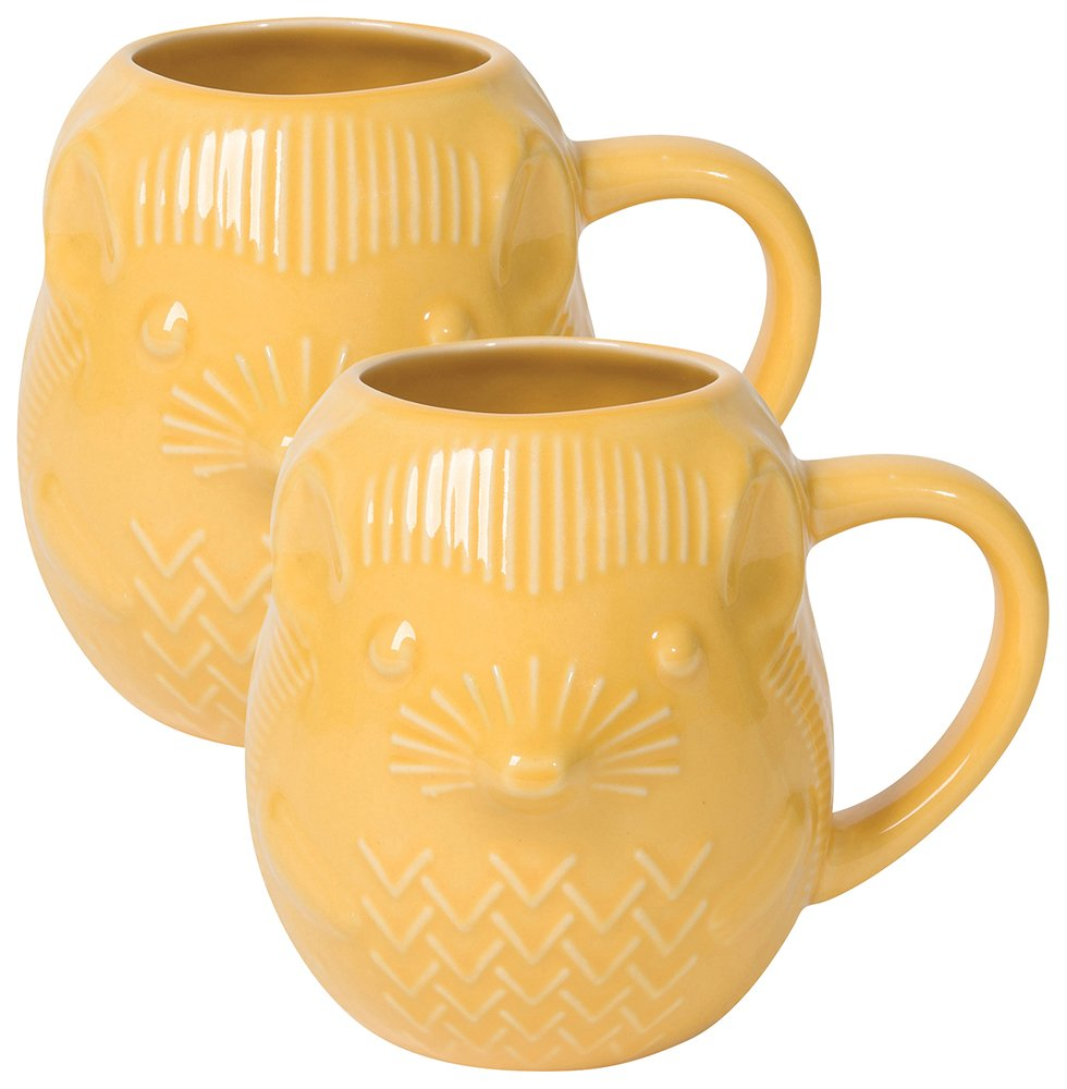 Now Designs Critter Stoneware Mug, Set of Two, Calvin Cat L530003aa
