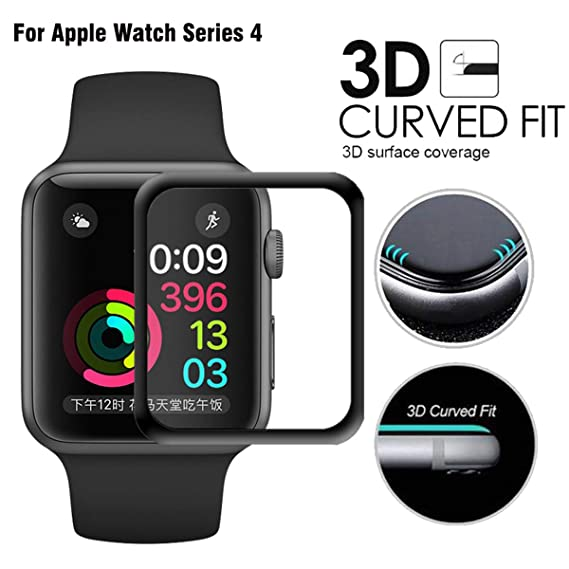 100% authentic 45211 e88cb for Apple Watch Series 4 44mm Screen Protector Scratch Resistant Full  Coverage Protective Tempered Glass HD Film Glass Bumper Case with 3D Curved  Edge ...