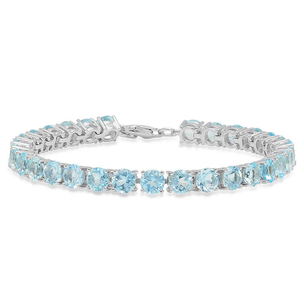 Sterling Silver Round Cut Aquamarine Ladies Tennis Bracelet (7 Inch Length x 5.1 MM Wide)