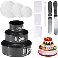 """4"""" 7"""" 9"""" Springform Cake Pan - 150-piece Parchment Paper Liners,Non-Stick Round Bakeware Cake Pan 2 Icing Spatula 3 Icing Smoother"""