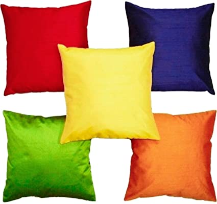 czar home dupion silk cushion covers set of 5 24x24 inches