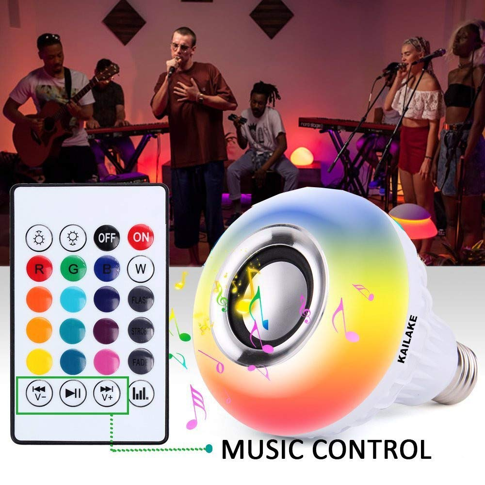 KAILAKE LED Wireless Light Bulb Speaker-RGB Sm Music 2018 New Design Instagram 5000+Likes with Stereo Audio Smart 7W E27 Changing Lam Lamp+24 Keys Remote Control by KAILAKE (Image #5)