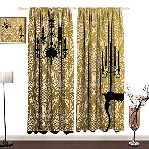 Anshesix Fashion Curtain Damask Decor English Country House Damask Motif on Wall and Chandelier Silhouettes Renaissance Decor W108 xL108 Mildew-Proof Polyester Fabric ()
