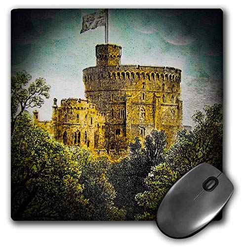 3dRose Scenes from The Past Magic Lantern - Victorian Era Magic Lantern Slide Windsor Castle Round Tower Vintage - Mousepad (mp_246138_1)