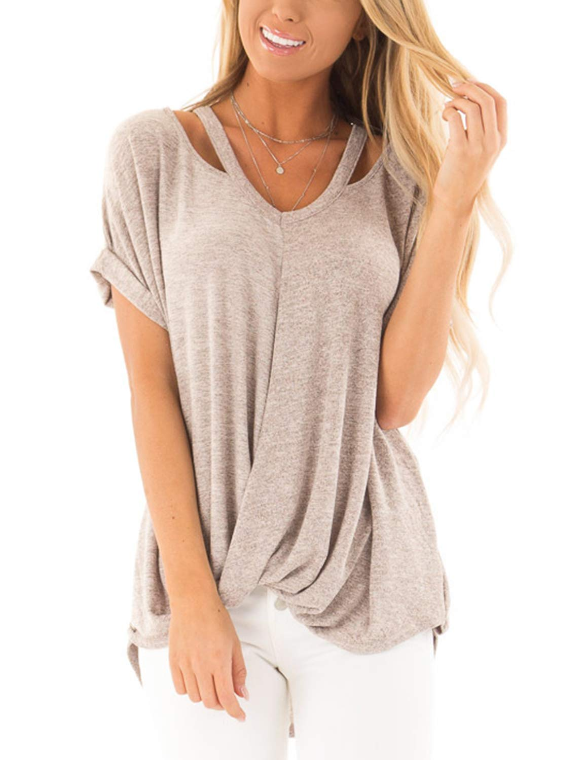 BMJL Women's V Neck T Shirt Short Sleeve Ruched Top Loose Fit Blouse Grey