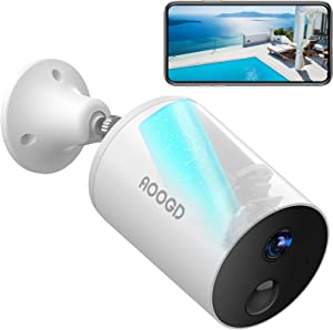 AOOGD Battery-Powered Wireless Security Cameras for Home Security, Security Camera Outdoor with PIR Human Motion Detection, Night Vision, Two-Way Audio, Android / iOS Compatible