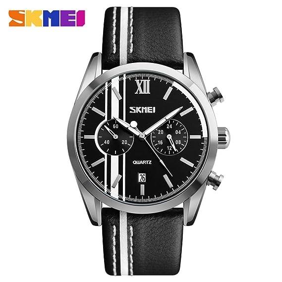 HWCOO Relojes de pulsera SKMEI multifunción deportivo reloj de cuarzo Reloj de cuarzo impermeable correa de