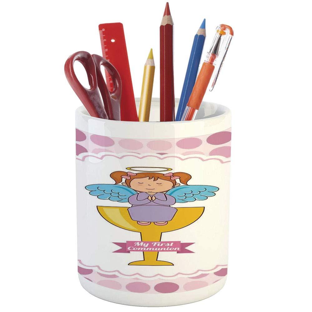 Pencil Pen Holder,Baptism,Printed Ceramic Pencil Pen Holder for Desk Office Accessory,My First Communion Design Girl Sitting on Golden Cup Cloud Hope Belief Symbol