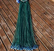Hand Throw Fishing Net with Sinker Easy to Throw Cast Net,Aluminum Ring Green Netting Iron Pendant Catch Fishi