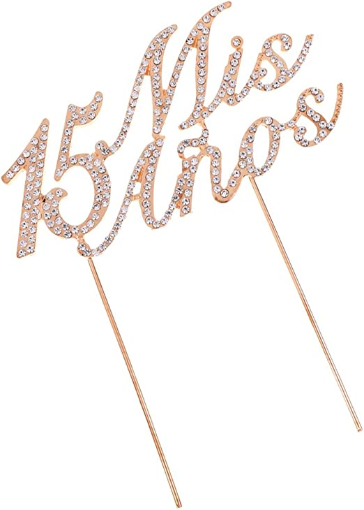 Bling Rhinestone Quinceanera Mis Anos 15th Birthday Party Number Cake Topper
