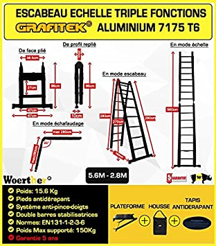 ESCABEAU-/ÉCHELLE T/ÉLESCOPIQUE WOERTHER Triple Fonctions en Graphite ET Aluminium 7175T6 avec Doubles Barres STABILISATRICES//Garantie 5 Ans 5M60-2M80 //avec Housse//MOD/ÈLE GRAFITEK