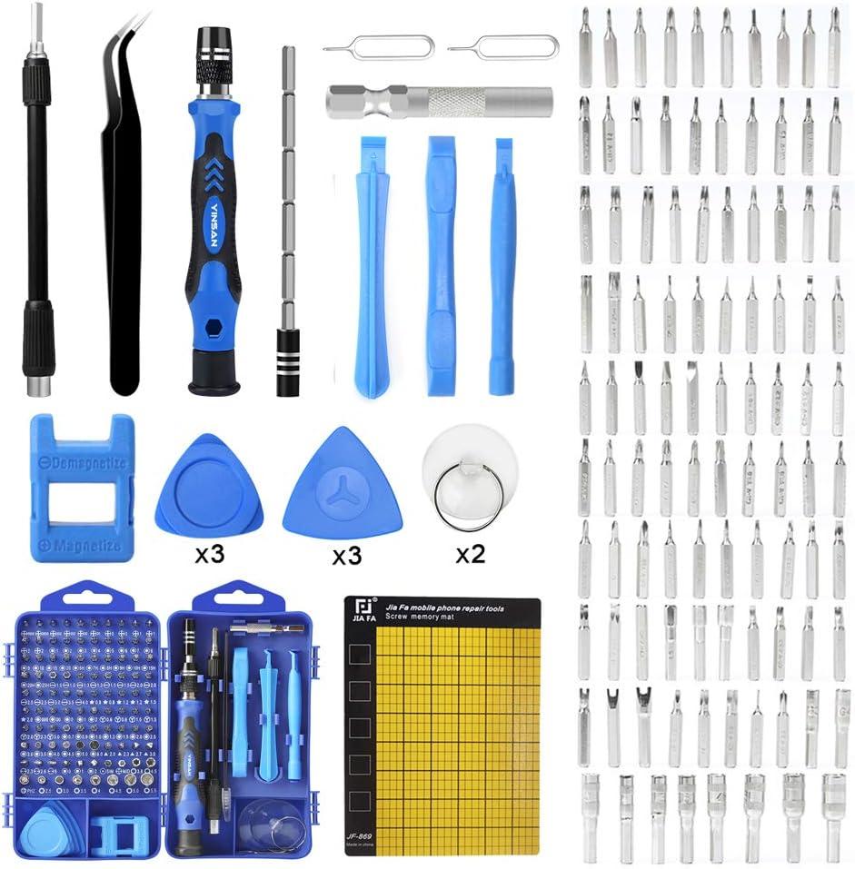 YINSAN 119 en 1 Juego de Destornilladores de Precisión con Magnetizador, Kit de Herramientas de Reparación de Bricolaje Profesional para iPhones, Laptops, Teléfono, Xboxs, Gafas, Reloj, Cámara, TV ect