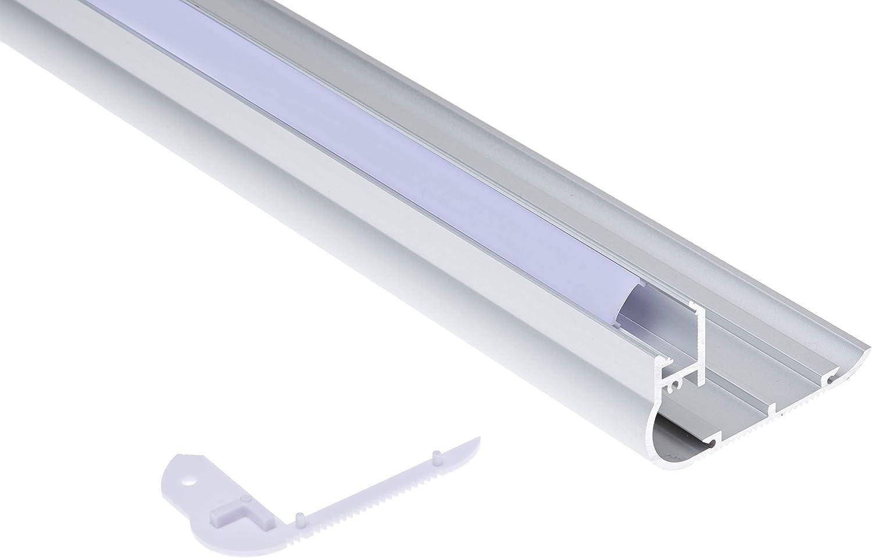 Jandei - Perfil aluminio tira led 2 metros para escalera canto huella contra huella: Amazon.es: Iluminación
