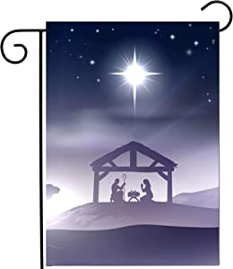 """ShineSnow Winter Landscape Christmas Scene Story Garden Yard Flag 12""""x 18"""" Double Sided, Polyester Welcome House Flag Banners for Patio Lawn Outdoor Home Decor"""