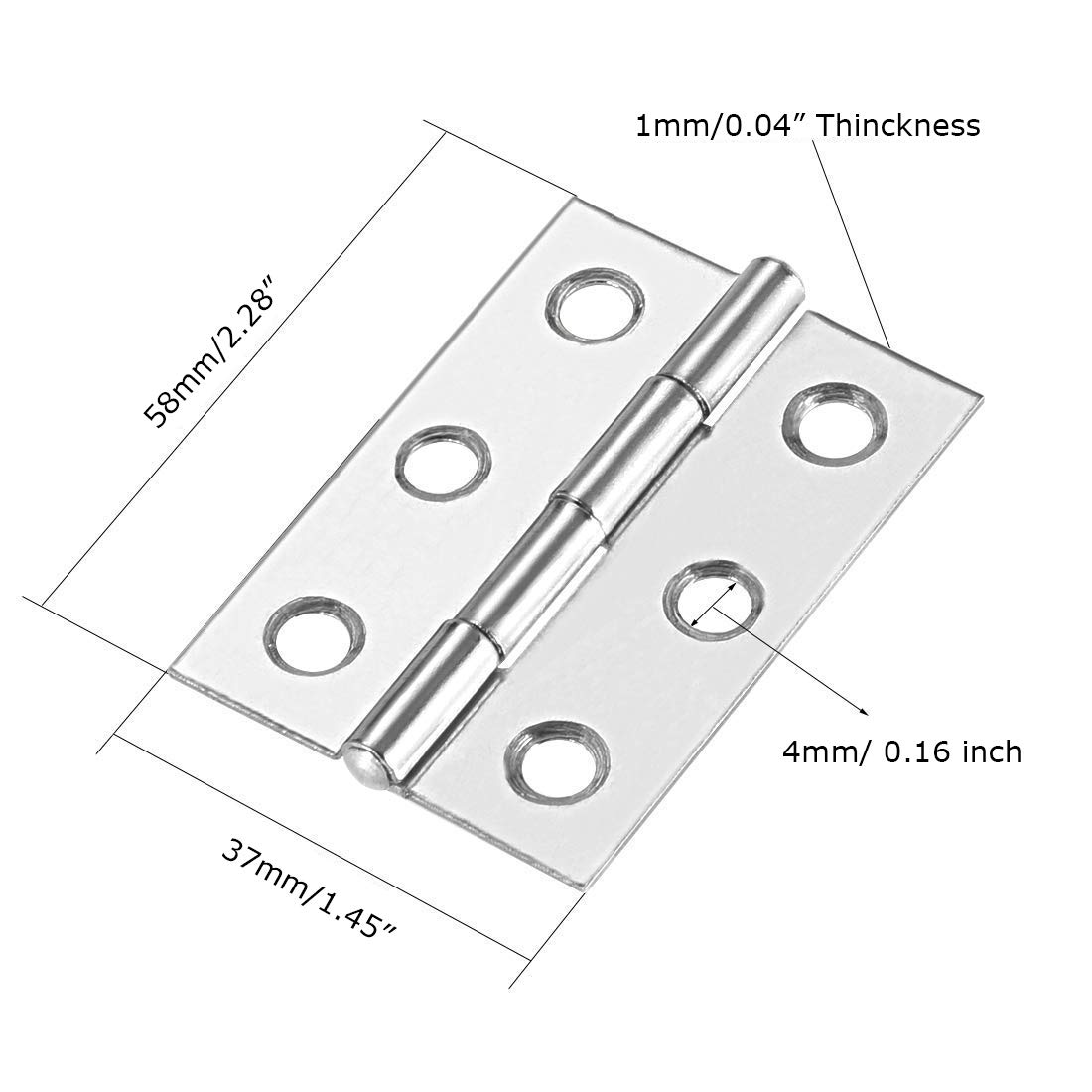 86x56x1.5mm//3.38 x 2.2x0.06 Cyful 10 Pieces Stainless Steel Folding Butt Hinges Fittings for Cabinet Drawer Door 86x56mm//3.38 x 2.2 inch