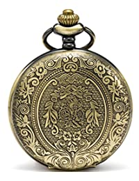 SEWOR Classical Flower Case Quartz Pocket Watch Shell Dial With Two Type Chain(Leather+Metal) (bronze)