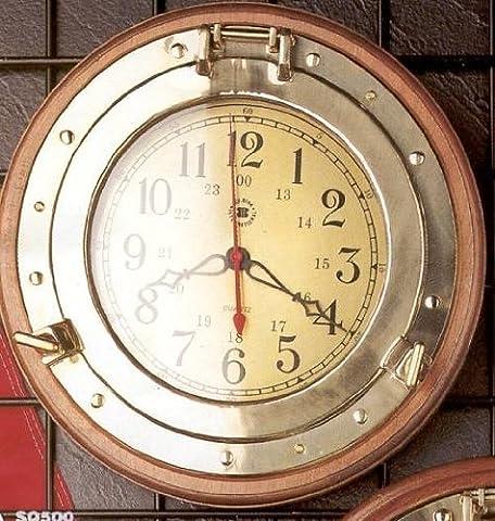 Bey-Berk International Brass Porthole Clock on Solid Wood - Tarnish Proof - Tarnish Proof