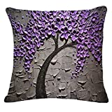 Monkeysell Oil Painting Black Large Tree and Flower Birds Cotton Linen Throw Pillow Case Cushion Cover Home Sofa Decorative 18 X 18 Inch (S118A9)