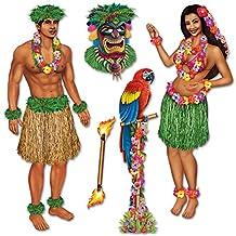 Club Pack of 60 Insta-Theme Tropical Luau Hula Girl and Polynesian Guy Photo Props 5'