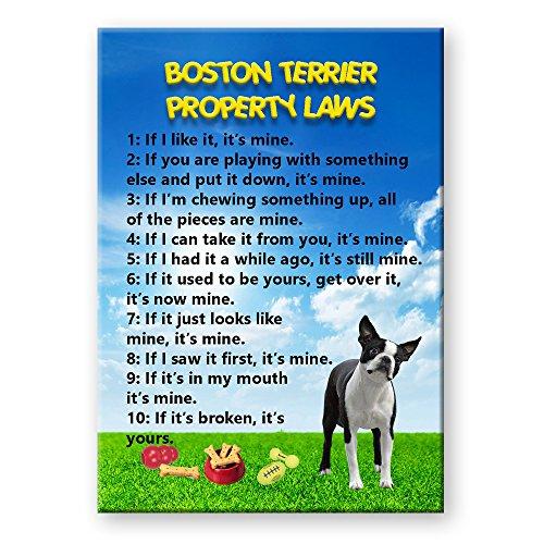 (Boston Terrier Property Laws Fridge Magnet)
