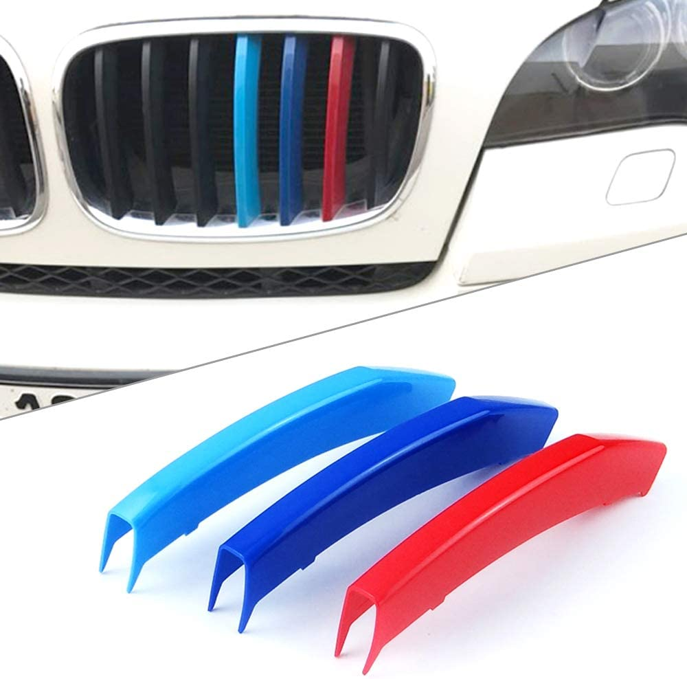 12 Grilles one Side for 05-08 BMW 3 Series E90 E91 3D M Styling 3 Colors Front Grille Trim Motorsport Stripes Grill Cover Performance Stickers 3Pcs