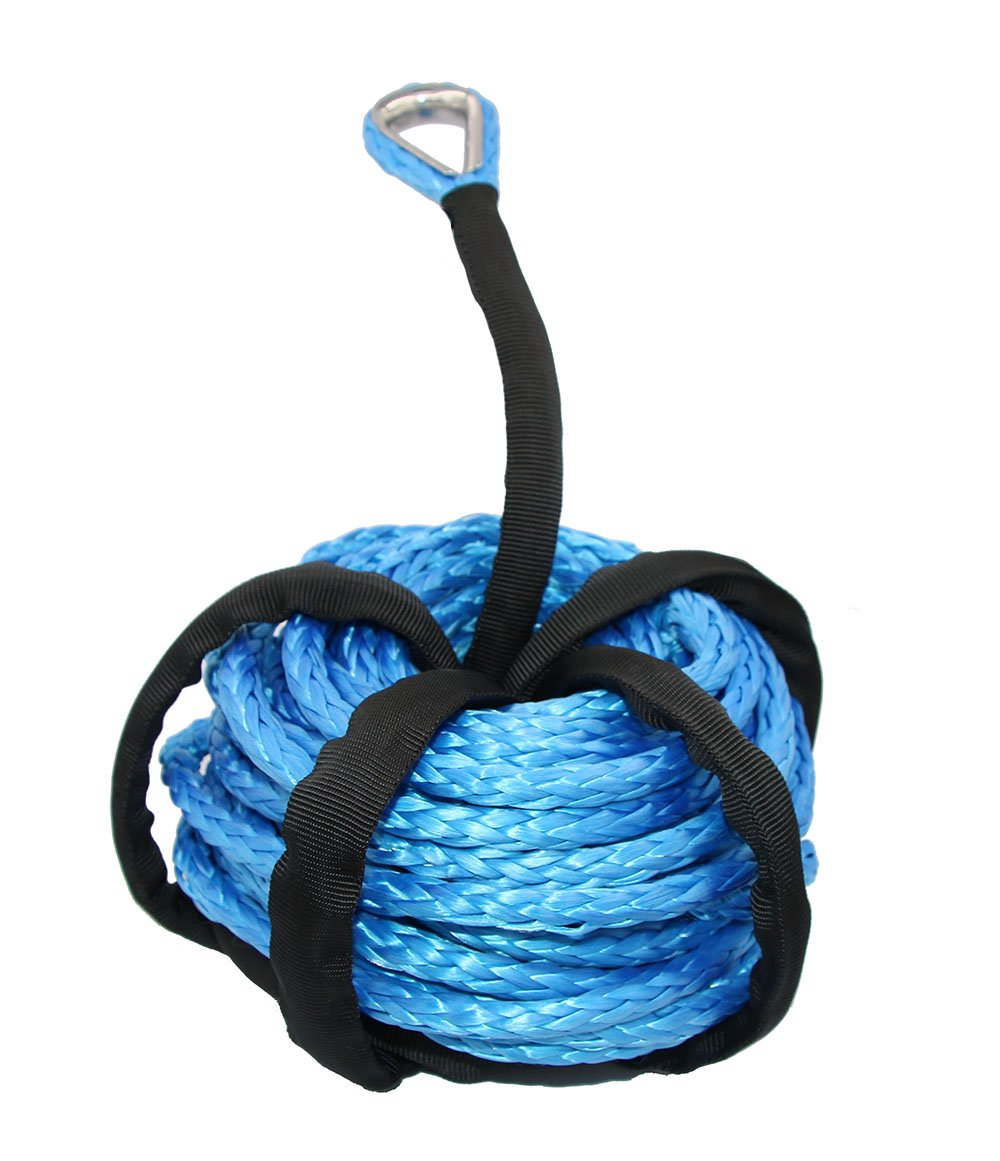 3//16 x 48 Winch Cable Blue Winch Rope 6000 LBs with Sheath for atvs Winches ATV UTV SUV Truck Boat Ramsey Synthetic Winch Rope HOOAI Synthetic Winch Rope
