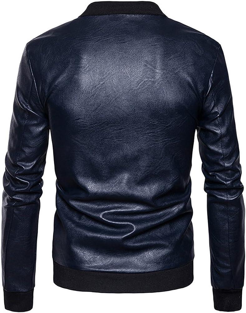 Zhhlinyuan Mens Full Zipper PU Leather Jacket Coat Stand Cut Collar Outerwear