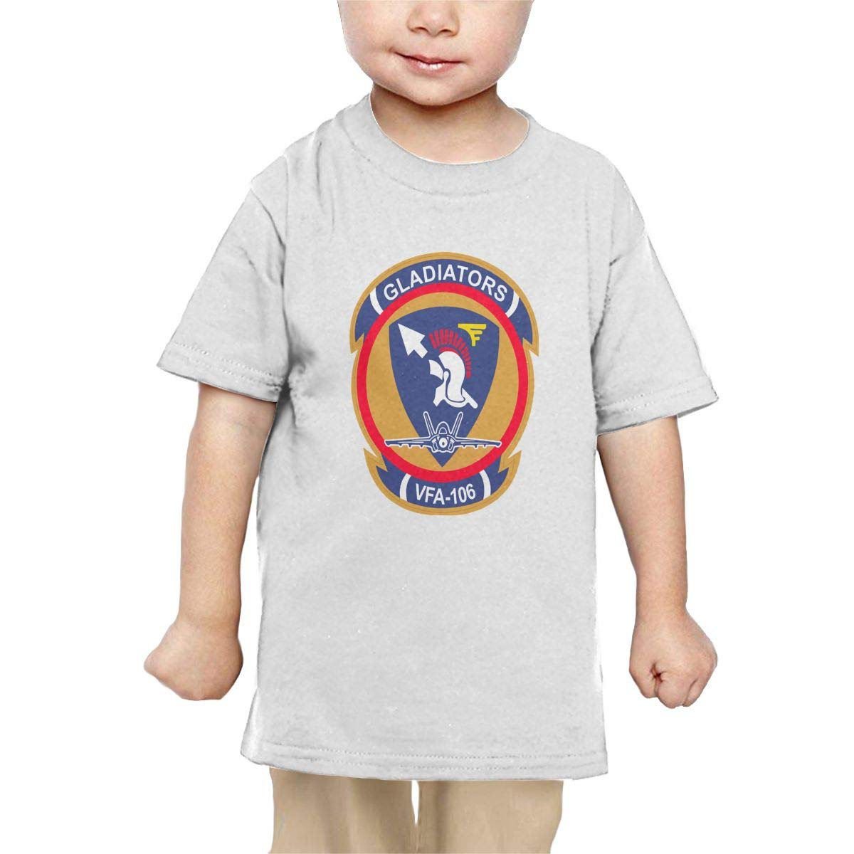 Chunmmmmm US Navy VFA-106 Gladiators Squadron Baby Kids Short Sleeve Crewneck Cotton T-Shirts