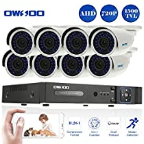 OWSOO 16 Channel H.264 HDMI Full AHD 720P DVR CCTV Network Surveillance Kit with 8x 720P 1500TVL Outdoor/Indoor Infrared Bullet Camera, Support IR-CUT Night Vision Weatherproof Plug and Play