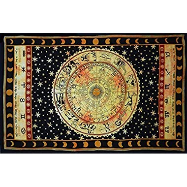 Handicrunch Black Zodiac Horoscope Tapestry, Indian Astrology Hippie Wall Hanging, Ethnic Decorative Art, Celtic Zodiac Tapestry. (85  x 55')