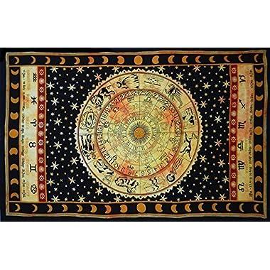 Handicrunch Black Zodiac Horoscope Tapestry, Indian Astrology Hippie Wall Hanging, Ethnic Decorative Art, Celtic Zodiac Tapestry. (85  x 55')