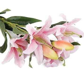Amazon De Sharplace Kunstliche 6 Kopf Lilie Blumen Blumenstrauss