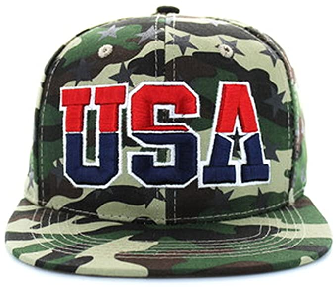 fc54243a5eb USA Snapback American Flag Camo Camouflage Army Military Tactical Hunting  Hat (One size Fits Most