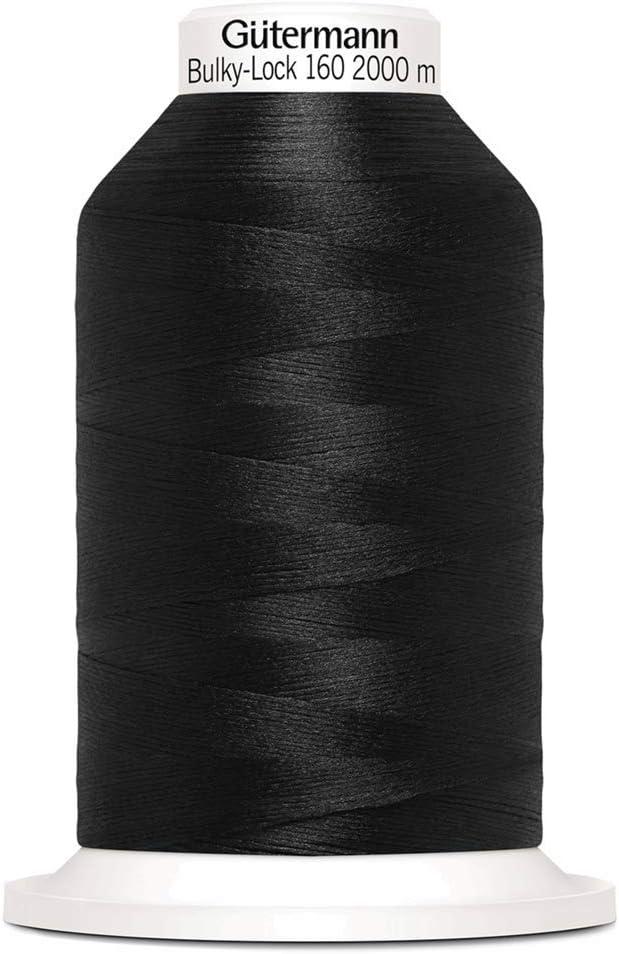 color negro Carrete poli/éster, 2000 m Gutermann Bulky-Lock 160
