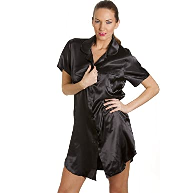 8906b97e70 Camille Womens Ladies Luxurious Knee Length Black Satin Nightshirt ...