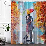 Paris Lovers Love Faith Theme Oil Painting Design Couple Umbrella Rain Maple Romantic Shower Curtain,Waterproof&Antibacterial&Eco-Friendly Non Toxic,Odor Free,Rust Proof Grommets 72''x72''