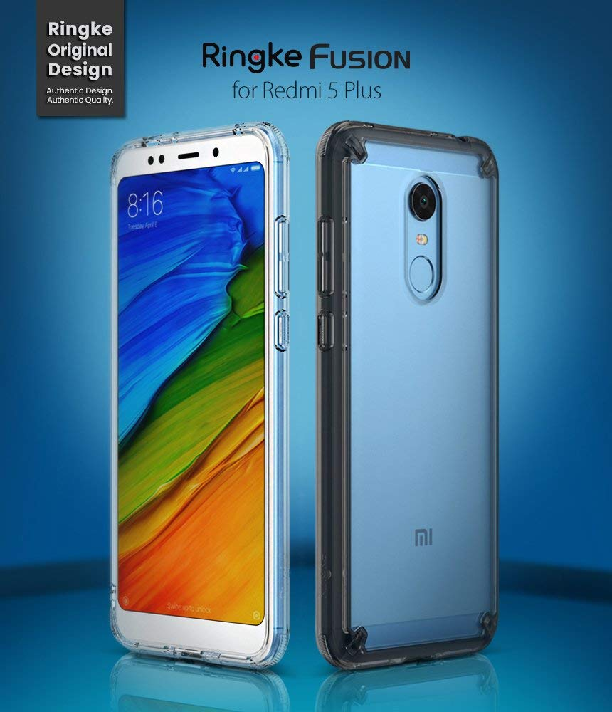 Ringke Fusion Compatible with Xiaomi Redmi 5 Plus Case Crystal Clear Minimalist Transparent PC Back TPU Bumper Drop Protection Raised Bezels Scratch ...