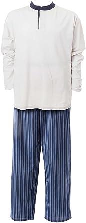 Mod AdoniaMode Herren Jersey Pyjama Schlafanzug Sleepware Nachtw/äsche Rundhals Knopfleiste Batist lang Gr 8548 46-62
