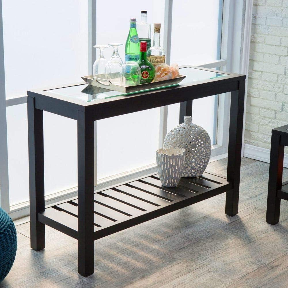 - Amazon.com: Hall Console Table Black Glass Top Slat Bottom Shelf