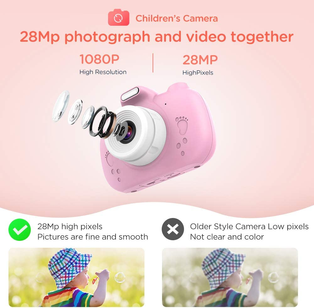 Lanyard Anti-Drop Design RAYROW Kids Camera 1080P 28MP HD Video Digital Camera for Children,Supports WIFI /& Touch Screen pink Birthday Festival gift for boy girl Age 3-12 3.0 inch IPS HD//Games