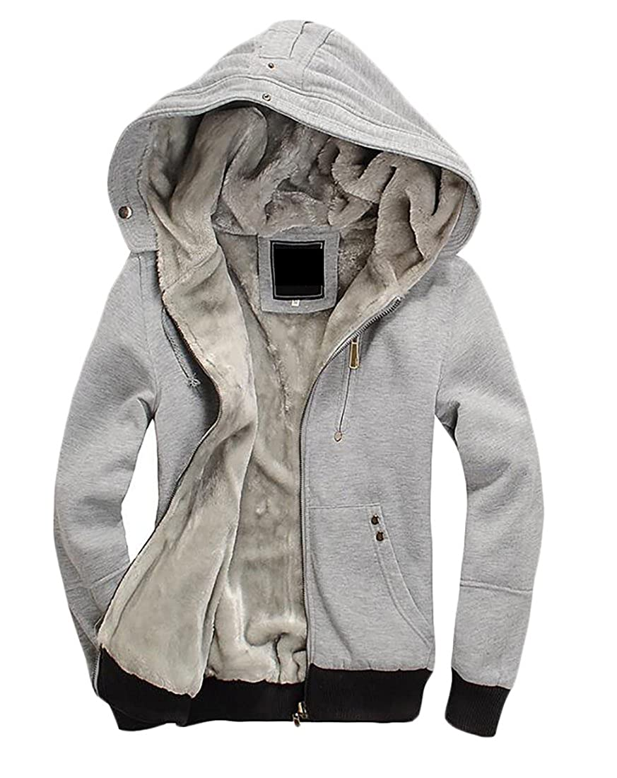 MU2M Men Faux-Fur Lined Zip Front Thicken Hoodie Coat