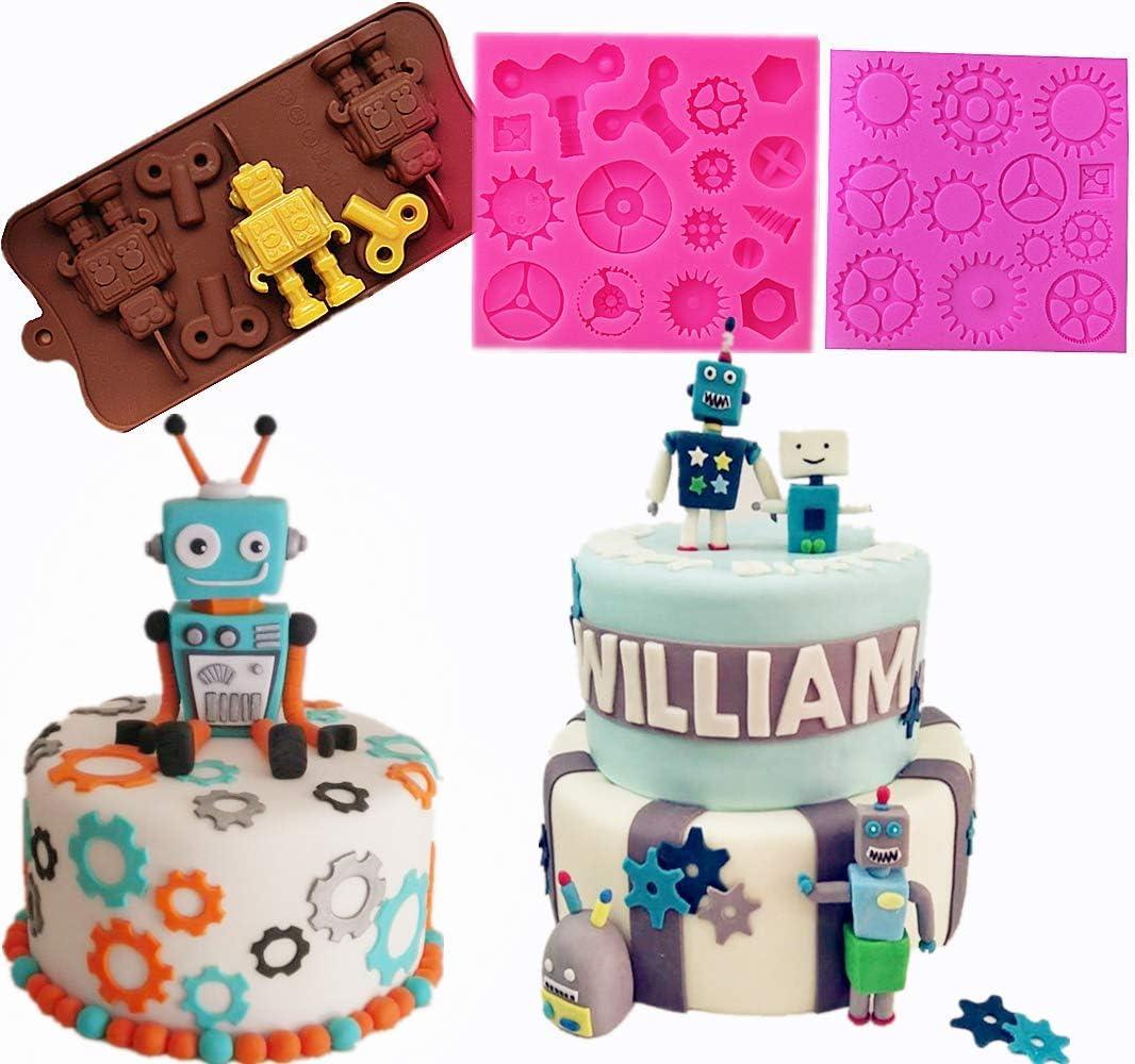 Astounding Amazon Com Jevenis Set Of 3 Robot Mold Steam Punk Cake Decoration Funny Birthday Cards Online Alyptdamsfinfo