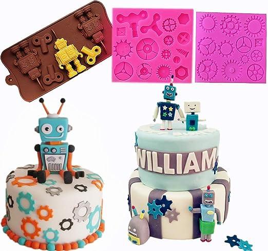 Brilliant Amazon Com Jevenis Set Of 3 Robot Mold Steam Punk Cake Decoration Personalised Birthday Cards Epsylily Jamesorg