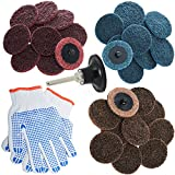 small air grinder - Surface Conditioning Disc 2 Inch 30Pcs, Pad Holder, Roloc Quick Change Roll Lock Disc 2In for Air Angle Die Grinder, Drill Type R Sanding Discs Polish Strip Grind Prep Finish Rust Paint Gasket Removal