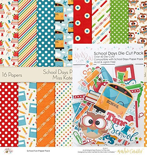 (Die Cuts & Paper Set - School Days - by Miss Kate Cuttables - 16 Single - Sided 12