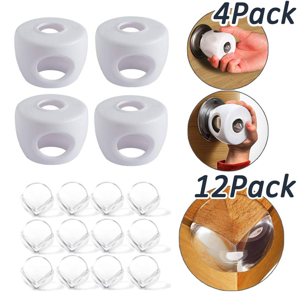 4 Piece Door Knob Covers+12 Piece Corner Protectors- Safety Locks & Guards Best for Childproofing Your Doors & Tables and Baby Proofing Corner Bumpers for Baby Safety