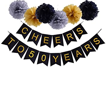Amazon 50th birthday party decoration cheers to 50 years 50th birthday party decoration cheers to 50 years banner for wedding anniversary party supplies junglespirit Gallery
