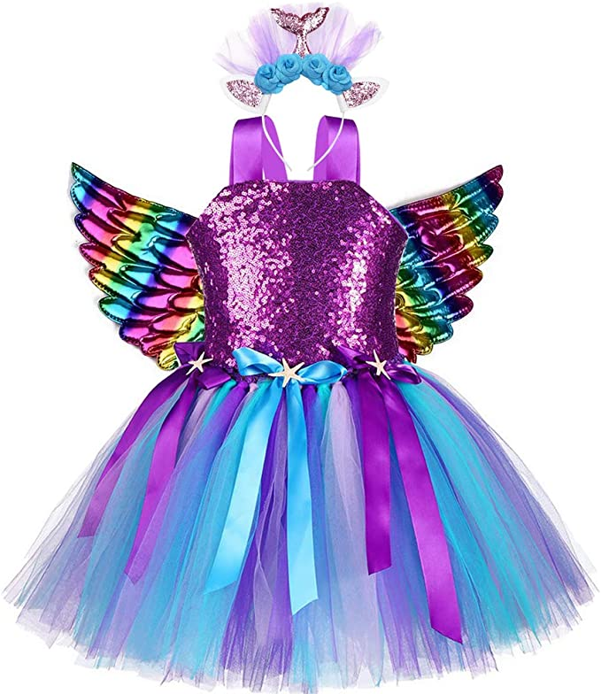 Disfraz de Sirena para niñas con tutú de Tul y alas de ángel ...