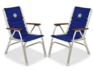 FORMA MARINE Boat Chairs High Back Blue Deck Folding Marine Aluminum Teak Furniture Set of 2 M150B